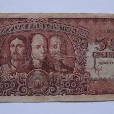 Bancnota 500 lei 1949 Horia, Closca si Crisan - Bancnota romaneasca