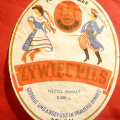 Eticheta veche de Bere Zywiec Pils - Polonia