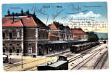 Cluj  Kolozsvar gara cu tren ilustrata circulata in 1928, Printata