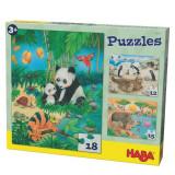 Set 3 Puzzleuri, Haba, Familii De Animale, 3Ani+