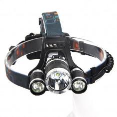 Lanterna de cap cu 3 leduri 1 cree xml T6 2 cree xpe 1 smd
