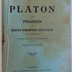 DIN PLATON II . PHAIDON SAU DESPRE NEMURIREA SUFLETULUI de CEZAR PAPACOSTEA, 1919 - Carte Psihologie