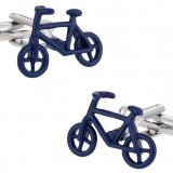 Butoni tema BIKE biciclist metal argintii cu albastru  + ambalaj cadou, Inox