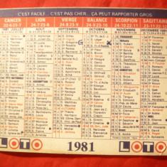 Calendar Religios Catolic si cu Zodii -1981 Franta -Ed. Loteriei