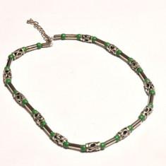 Colier Jamaica - metal inox cu verde - unisex