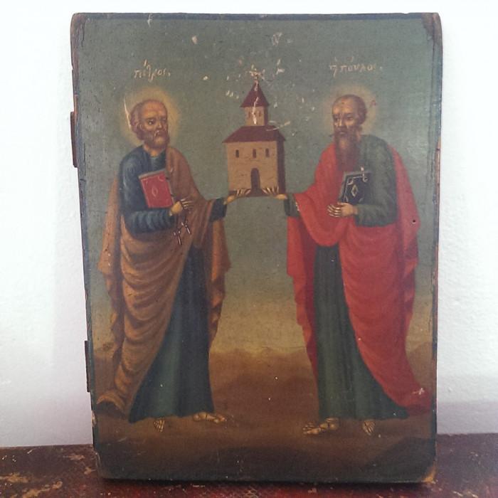 ICOANA SFINTII APOSTOLI PETRU SI PAVEL-PICTURA PE LEMN-SFARSIT DE SECOL 19