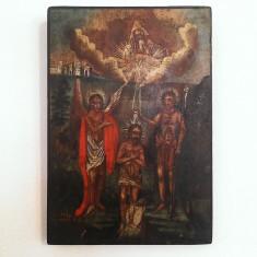 ICOANA BOTEZUL DOMNULUI -PICTURA PE LEMN -SFARSIT DE SECOL 19 - Icoana pe lemn
