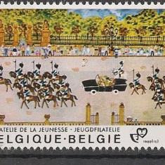 BELGIA 1980 – PICTURA NAIVA PARADA MILITARA, timbru nestampilat N189