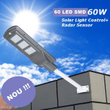 PROMOTIE! STALP SOLAR 60 WATT,EXTERIOR,PANOU SOLAR INCLUS,SENZOR,60 LEDURI SMD.