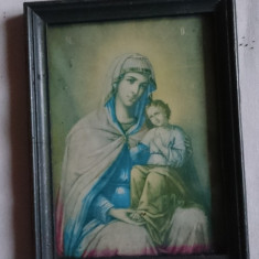 Veche litografie de colectie - icoana cu rama si geam Fecioara Maria cu Pruncul