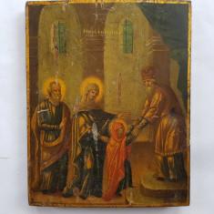 ICOANA ROMANEASCA PICTATĂ PE LEMN - INTRAREA IN BISERICA - sec. 19 - (1820 ) - Icoana pe lemn