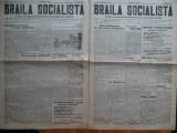Ziarul Braila Socialista , an 1 , nr. 1 si 2 , 1926 , 1