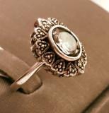 Inel din argint cu safir si marcasite. Masura - 15
