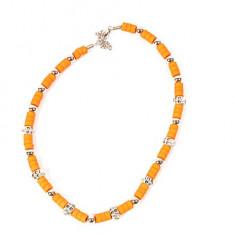 Colier Jamaica ( medalion ) - cu insertii metalice - cranii - portocaliu