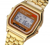 Ceas Vintage Gen Casio Model Retro Gold Silver inox, Casual, Quartz