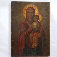 ICOANA PICTATA PE LEMN ROMANEASCA - MAICA CU PRUNCUL - sec. 19 - Icoana pe lemn