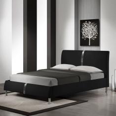 Pat HM Dakota cu somiera piele ecologica 160x200 - Pat dormitor, Dublu, Pat de mijloc
