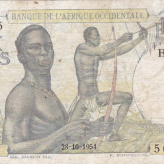 FRENCH WEST AFRICA 10 francs 1954 F+/VF-!!! - bancnota africa