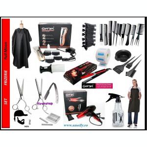 Set kit frizerie coafor complet uscator placa masina tuns brici foarfeca filat