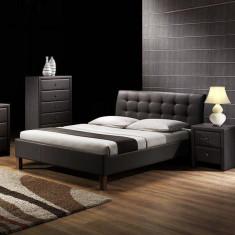 Pat HM Samara cu somiera 160x200 piele ecologica negru - Pat dormitor, Dublu
