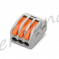 Conector electric fara suruburi - trei cleme