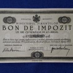 Bon de impozit 100 lei 1933