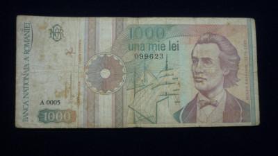 1000 LEI, SEPTEMBRIE 1991 SERIE FARA PUNCT foto