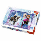 Jucarie puzzle 160 pcs Aventuri iarna cu Elsa, Anna, Olaf si Sven 15344 Trefl