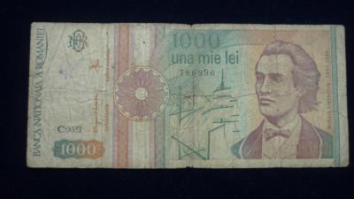 1000 LEI SEPTEMBRIE 1991 SERIE CU PUNCT foto