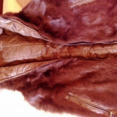 Vesta cu blana naturala cu doua fete - Vesta dama, Marime: 42, Culoare: Olive