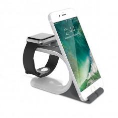 Suport de birou pentru incarcarea smartphone-ului si a smartwatch-ului