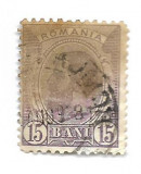Spic de grau, 1903, 15 bani, violet, obliterat (199), Regi, Stampilat