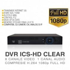 DVR HD-CVI / CVR, ICS-HD CLEAR, 8 Canale Video, Full HD, Vizualizare pe Internet - Sistem DVR ICANSEE