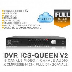 DVR ICS-QUEEN V2, 8 canale video, 4 canale audio, Rezolutie Full D1/ 2 Canale - Sistem DVR ICANSEE