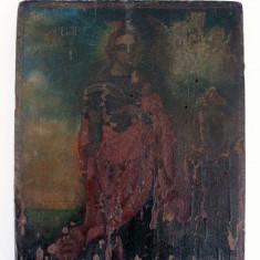 Icoana sec 19 pictata pe lemn Sfanta Varvara ocrotitoarea militarilor - Icoana pe lemn