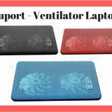 Suport Racire Laptop cu 2 Ventilatoare si Lumina LED ( Ventilator - Cooler )