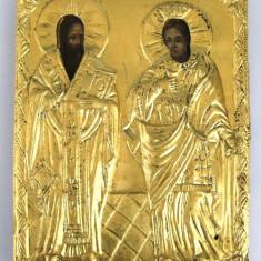 Icoana sec 19 ferecata aur 22kt pictata pe lemn Sf Vasile si Sf Elena - Icoana pe lemn