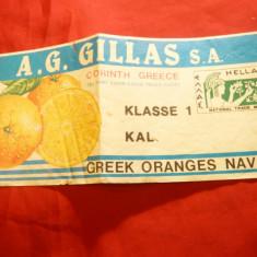 Eticheta Firma Gillas - Corinth-Grecia -Portocale pt. Export, L= 21 cm