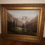 Tablou pictura pe lemn cu o superba rama bogat decorata, Peisaje, Ulei, Art Deco