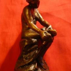 Statueta bronz - Nud - copie dupa Rodin, h= 11, 7 cm - sculptura reproducere