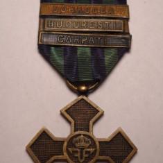 Crucea Comemorativa 1916 1918 cu Baretele Dobrogea Bucuresti Carpati - Ordin