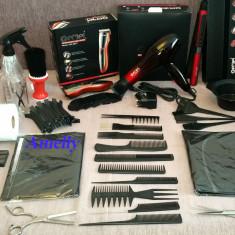 Set kit frizerie coafor complet uscator placa masina foarfeca tuns filat scoala