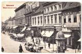 Cluj Kolozsvar  ilustrata animata 1910 centru cu carute,calaret,pravalii,, Cluj Napoca, Necirculata, Printata