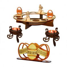 Set suport ouă şi cozonac, suport şerveţele, suport lumânari -  masa de Paşte