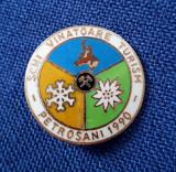 Insigna Ski - Vanatoare - Turism - Petrosani 1990 - AGVPS - floare de colt