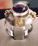 Inel din argint cu ametist, model vintage. Masura - 19