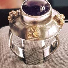 Inel din argint cu ametist, model vintage. Masura - 19 - Inel argint
