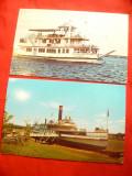 Set 2 Ilustrate SUA - Nave : Ticonderoga 1906 si Showboat, Necirculata, Printata