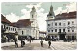 Cluj  Kolozsvar hotel Central,biserica evanghelica ilustrata animata  circ 1912, Cluj Napoca, Circulata, Printata
