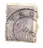 Spic de grau, 1903, 15 bani, violet, obliterat (177), Regi, Stampilat